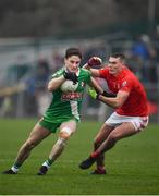 10 November 2019; Barry Coffey of Sarsfields in action against Jordan Morrissey of Éire Óg during the AIB Leinster GAA Football Senior Club Championship Quarter-Final match between Éire Óg and Sarsfields at Netwatch Cullen Park in Carlow. Photo by Sam Barnes/Sportsfile