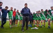 10 November 2019; Sarsfields manager Davy Burke gives a team talk following the AIB Leinster GAA Football Senior Club Championship Quarter-Final match between Éire Óg and Sarsfields at Netwatch Cullen Park in Carlow. Photo by Sam Barnes/Sportsfile