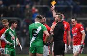10 November 2019; Referee Anthony Nolan shows a yellow card to Ciaran McEnerney Aspell of Sarsfields  during the AIB Leinster GAA Football Senior Club Championship Quarter-Final match between Éire Óg and Sarsfields at Netwatch Cullen Park in Carlow. Photo by Sam Barnes/Sportsfile