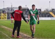 10 November 2019; Seán Campbell of Sarsfields shakes hands with Éire Óg manager Joe Murphy after being sent off the AIB Leinster GAA Football Senior Club Championship Quarter-Final match between Éire Óg and Sarsfields at Netwatch Cullen Park in Carlow. Photo by Sam Barnes/Sportsfile