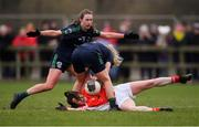 10 November 2019; Nicola Ward of Kilkerrin - Clonberne in action against Ciara O'Riordan, centre, and Sarah Quinn of Foxrock - Cabinteely during the All-Ireland Ladies Football Senior Club Championship Semi-Final match between Kilkerrin - Clonberne and Foxrock - Cabinteely at the Connacht GAA Centre of Excellence in Claremorris, Co Mayo. Photo by Piaras Ó Mídheach/Sportsfile