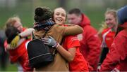10 November 2019; Siobhán Divilly of Kilkerrin - Clonberne celebrates with a supporter after the All-Ireland Ladies Football Senior Club Championship Semi-Final match between Kilkerrin - Clonberne and Foxrock - Cabinteely at the Connacht GAA Centre of Excellence in Claremorris, Co Mayo. Photo by Piaras Ó Mídheach/Sportsfile