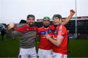 10 November 2019; St Thomas' players, from left, James Barrett, David Burke and Shane Cooney celebrate following the Galway County Senior Club Hurling Championship Final match between Liam Mellows and St Thomas' at Pearse Stadium in Galway. Photo by Harry Murphy/Sportsfile