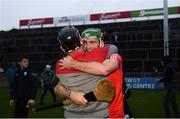 10 November 2019; David Burke of St Thomas' and James Barrett of St Thomas' embrace following the Galway County Senior Club Hurling Championship Final match between Liam Mellows and St Thomas' at Pearse Stadium in Galway. Photo by Harry Murphy/Sportsfile