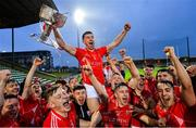10 November 2019; East Kerry captain Dan O'Donoghue and his team-mates celebrate with the Bishop Moynihan cup after the Kerry County Senior Club Football Championship Final match between East Kerry and Dr. Crokes at Austin Stack Park in Tralee, Kerry. Photo by Brendan Moran/Sportsfile