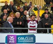 10 November 2019; Slaughtneil captain Christopher McKaigue lifts the cup after winning the Ulster GAA Hurling Senior Club Championship Final match between Slaughtneil and Dunloy at Páirc Esler, Newry, Co Down. Photo by Philip Fitzpatrick/Sportsfile