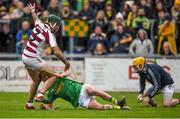 10 November 2019; Sé McGuigan of Slaughtneil in action against Conor McKinley and Ryan Elliott of Dunloy during the Ulster GAA Hurling Senior Club Championship Final match between Slaughtneil and Dunloy at Páirc Esler, Newry, Co Down. Photo by Philip Fitzpatrick/Sportsfile