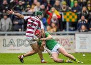 10 November 2019; Sé McGuigan of Slaughtneil in action against Conor McKinley of Dunloy during the Ulster GAA Hurling Senior Club Championship Final match between Slaughtneil and Dunloy at Páirc Esler, Newry, Co Down. Photo by Philip Fitzpatrick/Sportsfile