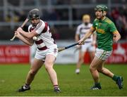 10 November 2019; Sé McGuiganin of Slaughtneil in action against Paul Shiels of Dunloy during the Ulster GAA Hurling Senior Club Championship Final match between Slaughtneil and Dunloy at Péirc Esler, Newry, Co Down. Photo by Philip Fitzpatrick/Sportsfile