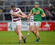 10 November 2019; Sé McGuiganin of Slaughtneil in action against Paul Shiels of Dunloy during the Ulster GAA Hurling Senior Club Championship Final match between Slaughtneil and Dunloy at Páirc Esler, Newry, Co Down. Photo by Philip Fitzpatrick/Sportsfile