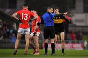 10 November 2019; Mark O'Shea of Dr. Crokes remonstrates with referee Brendan Griffin after being shown a red card during the Kerry County Senior Club Football Championship Final match between East Kerry and Dr. Crokes at Austin Stack Park in Tralee, Kerry. Photo by Brendan Moran/Sportsfile