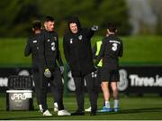 11 November 2019; Republic of Ireland assistant coach Robbie Keane, right, and Troy Parrott during a Republic of Ireland training session at the FAI National Training Centre in Abbotstown, Dublin. Photo by Stephen McCarthy/Sportsfile