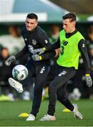 11 November 2019; Troy Parrott, left, and Lee O'Connor during a Republic of Ireland training session at the FAI National Training Centre in Abbotstown, Dublin. Photo by Seb Daly/Sportsfile