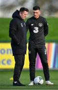 11 November 2019; Republic of Ireland assistant coach Robbie Keane, left, and Troy Parrott during a Republic of Ireland training session at the FAI National Training Centre in Abbotstown, Dublin. Photo by Seb Daly/Sportsfile