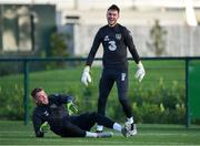 11 November 2019; Mark Travers, left, and Kieran O'Hara during a Republic of Ireland training session at the FAI National Training Centre in Abbotstown, Dublin. Photo by Seb Daly/Sportsfile