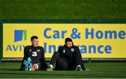 11 November 2019; James Collins, left, and Enda Stevens during a Republic of Ireland training session at the FAI National Training Centre in Abbotstown, Dublin. Photo by Seb Daly/Sportsfile