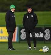 11 November 2019; Republic of Ireland manager Mick McCarthy and Enda Stevens during a Republic of Ireland training session at the FAI National Training Centre in Abbotstown, Dublin. Photo by Stephen McCarthy/Sportsfile