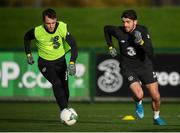 11 November 2019; Robbie Brady, right, and Lee O'Connor during a Republic of Ireland training session at the FAI National Training Centre in Abbotstown, Dublin. Photo by Stephen McCarthy/Sportsfile