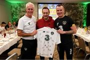 11 November 2019; Comedian and impressionist Mario Rosenstock with Republic of Ireland manager Mick McCarthy and Glenn Whelan during a visit to the Republic of Ireland squad hotel in Dublin. Photo by Stephen McCarthy/Sportsfile