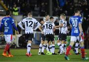 11 November 2019; Jamie McGrath of Dundalk, centre, celebrates with team-mates after scoring his side's third goal during the Unite the Union Champions Cup Second Leg match between Dundalk and Linfield at Oriel Park in Dundalk, Louth.  Photo by Eóin Noonan/Sportsfile