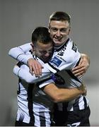 11 November 2019; Robbie Benson, left, celebrates with Daniel Kelly of Dundalk after scoring his side's fourth goal during the Unite the Union Champions Cup Second Leg match between Dundalk and Linfield at Oriel Park in Dundalk, Louth. Photo by Eóin Noonan/Sportsfile