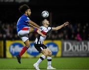 11 November 2019; Michael Duffy of Dundalk in action against Bastien Héry of Linfield during the Unite the Union Champions Cup Second Leg match between Dundalk and Linfield at Oriel Park in Dundalk, Louth. Photo by Eóin Noonan/Sportsfile