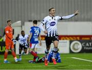 11 November 2019; Georgie Kelly of Dundalk celebrates after scoring his side's fifth goal during the Unite the Union Champions Cup Second Leg match between Dundalk and Linfield at Oriel Park in Dundalk, Louth. Photo by Eóin Noonan/Sportsfile