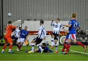 11 November 2019; Georgie Kelly of Dundalk scores his side's fifth goal during the Unite the Union Champions Cup Second Leg match between Dundalk and Linfield at Oriel Park in Dundalk, Louth. Photo by Eóin Noonan/Sportsfile