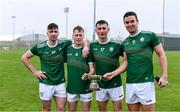 2 November 2019; Ireland players, representing Kerry, from left, Barry Mahony, Shane Conway, Tomas O'Connor and Fionan Mackessy with the cup after the U21 Hurling Shinty International 2019 match between Ireland and Scotland at the GAA National Games Development Centre in Abbotstown, Dublin. Photo by Piaras Ó Mídheach/Sportsfile