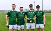 2 November 2019; Ireland players, from left, James Dolan, James Keyes, Brian Ryan, and Donal Burke with the cup after the U21 Hurling Shinty International 2019 match between Ireland and Scotland at the GAA National Games Development Centre in Abbotstown, Dublin. Photo by Piaras Ó Mídheach/Sportsfile