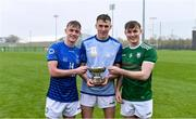 2 November 2019; Ireland players, representing Offaly, from left, Ciarán Burke, Joey Keenaghan, and Conor Langton with the cup after the U21 Hurling Shinty International 2019 match between Ireland and Scotland at the GAA National Games Development Centre in Abbotstown, Dublin. Photo by Piaras Ó Mídheach/Sportsfile