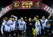 11 November 2019; Dundalk players celebrate after the Unite the Union Champions Cup Second Leg match between Dundalk and Linfield at Oriel Park in Dundalk, Louth. Photo by Eóin Noonan/Sportsfile