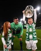 3 November 2019; Aaron Greene of Shamrock Rovers with children Jack and Lilly following the extra.ie FAI Cup Final between Dundalk and Shamrock Rovers at the Aviva Stadium in Dublin. Photo by Stephen McCarthy/Sportsfile