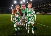 3 November 2019; Aaron Greene of Shamrock Rovers with children Lilly and Jack following the extra.ie FAI Cup Final between Dundalk and Shamrock Rovers at the Aviva Stadium in Dublin. Photo by Stephen McCarthy/Sportsfile