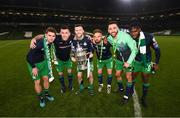 3 November 2019; Shamrock Rovers players, from left, Dylan Watts, Aaron Greene, Jack Byrne, Greg Bolger, Roberto Lopes and Thomas Oluwa following the extra.ie FAI Cup Final between Dundalk and Shamrock Rovers at the Aviva Stadium in Dublin. Photo by Stephen McCarthy/Sportsfile