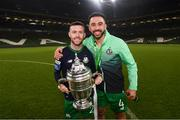 3 November 2019; Jack Byrne, left, and Roberto Lopes of Shamrock Rovers following the extra.ie FAI Cup Final between Dundalk and Shamrock Rovers at the Aviva Stadium in Dublin. Photo by Stephen McCarthy/Sportsfile