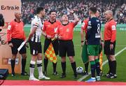 3 November 2019; Match officials, from left, Paul Tuite, Darragh Keegan, Derek Tomney, Rob Clarke and Graham Kelly with captains Brian Gartland of Dundalk and Ronan Finn of Shamrock Rovers during the extra.ie FAI Cup Final between Dundalk and Shamrock Rovers at the Aviva Stadium in Dublin. Photo by Stephen McCarthy/Sportsfile