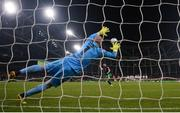3 November 2019; Greg Bolger of Shamrock Rovers scores a penalty past Gary Rogers of Dundalk during the extra.ie FAI Cup Final between Dundalk and Shamrock Rovers at the Aviva Stadium in Dublin. Photo by Stephen McCarthy/Sportsfile