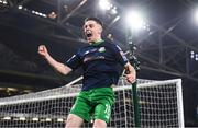 3 November 2019; Gary O'Neill of Shamrock Rovers celebrates after scoring the winning penalty during the extra.ie FAI Cup Final between Dundalk and Shamrock Rovers at the Aviva Stadium in Dublin. Photo by Stephen McCarthy/Sportsfile