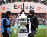 3 November 2019; TV camera operator Tim Hood captures the FAI Challenge Cup prior to the extra.ie FAI Cup Final between Dundalk and Shamrock Rovers at the Aviva Stadium in Dublin. Photo by Stephen McCarthy/Sportsfile
