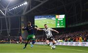 3 November 2019; Dane Massey of Dundalk and Ronan Finn of Shamrock Rovers during the extra.ie FAI Cup Final between Dundalk and Shamrock Rovers at the Aviva Stadium in Dublin. Photo by Stephen McCarthy/Sportsfile
