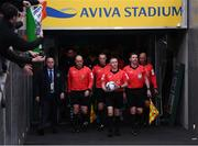3 November 2019; Referee Derek Tomney leads his officials and teams out prior to the extra.ie FAI Cup Final between Dundalk and Shamrock Rovers at the Aviva Stadium in Dublin. Photo by Stephen McCarthy/Sportsfile