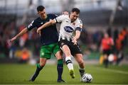 3 November 2019; Brian Gartland of Dundalk and Aaron Greene of Shamrock Rovers during the extra.ie FAI Cup Final between Dundalk and Shamrock Rovers at the Aviva Stadium in Dublin. Photo by Stephen McCarthy/Sportsfile