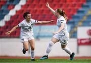 12 November 2019; Amber Barrett of Republic of Ireland celebrates after scoring her side's first goal with Emily Whelan of Republic of Ireland during the UEFA Women's 2021 European Championships Qualifier - Group I match between Greece and Republic of Ireland at Nea Smyrni Stadium in Athens, Greece. Photo by Harry Murphy/Sportsfile