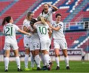 12 November 2019; Amber Barrett of Republic of Ireland celebrates after scoring her side's first goal with team-mates during the UEFA Women's 2021 European Championships Qualifier - Group I match between Greece and Republic of Ireland at Nea Smyrni Stadium in Athens, Greece. Photo by Harry Murphy/Sportsfile