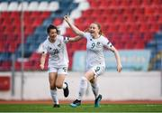 12 November 2019; Amber Barrett of Republic of Ireland celebrates after scoring her side's first goal with team-mate Emily Whelan, left, during the UEFA Women's 2021 European Championships Qualifier - Group I match between Greece and Republic of Ireland at Nea Smyrni Stadium in Athens, Greece. Photo by Harry Murphy/Sportsfile
