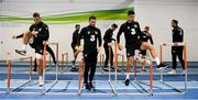 12 November 2019; Republic of Ireland players, from left, James Collins, Alan Judge and John Egan during a gym session prior to a Republic of Ireland training session at the FAI National Training Centre in Abbotstown, Dublin. Photo by Stephen McCarthy/Sportsfile
