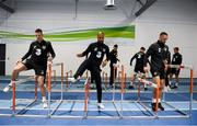 12 November 2019; Republic of Ireland players, from left, Ciaran Clark, David McGoldrick and Conor Hourihane during a gym session prior to a Republic of Ireland training session at the FAI National Training Centre in Abbotstown, Dublin. Photo by Stephen McCarthy/Sportsfile