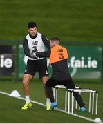 12 November 2019; John Egan, left, and Jack Byrne during a Republic of Ireland training session at the FAI National Training Centre in Abbotstown, Dublin. Photo by Stephen McCarthy/Sportsfile