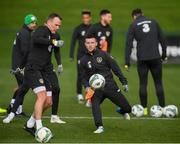12 November 2019; Jack Byrne and Glenn Whelan, left, during a Republic of Ireland training session at the FAI National Training Centre in Abbotstown, Dublin. Photo by Stephen McCarthy/Sportsfile